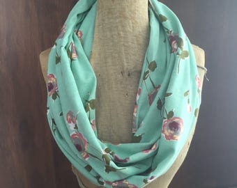SHIPS TODAY Infinity Scarf With a Twist in Floral