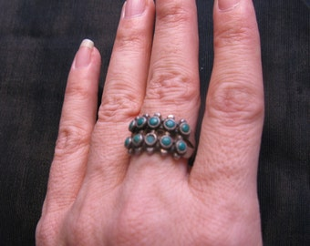 Zuni snake eye ring – native american jewelry – old turquoise ring – squash blossom ring – antique silver