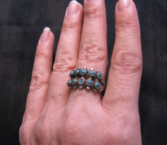 Zuni snake eye ring – native american jewelry – turquoise ring – squash blossom ring – antique silver