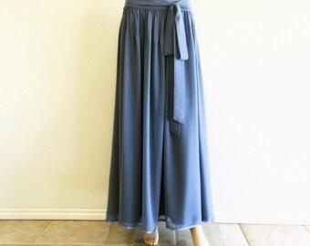 Bluish Grey Maxi Skirt.  Bluish Grey Bridesmaid Skirt. Long Evening Chiffon Skirt. Floor Length Skirt.