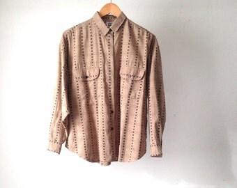 90s SOUTHWEST ikat shirt top button up LONG sleeve shirt