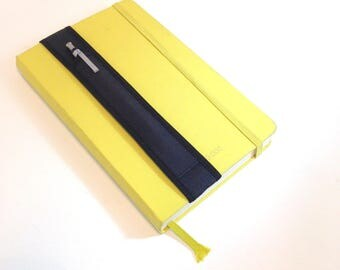 Single Notebook Pencil Holder / A5 / Single Pen Bandolier-- black on black