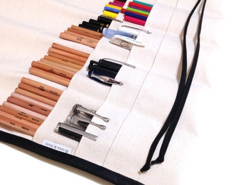 XL | 96 Pencil Roll Up / Art Roll / Travel Journal Roll / Natural with Black