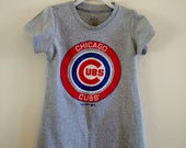 "Girls Size 4T ""The Chicago Cubs"" T-shirt Dress - Boy's cotton t-shirt refashioned into 1-of-a-kind girls A-line dress with puffed sleeves"