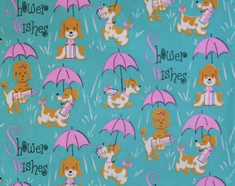 Vintage Dennison SHOWER - Gift Wrap Wrapping Paper - Cute DOGS Pups - 1950s 1960s