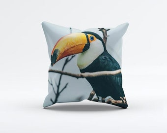 Toucan Pillow Cover 15 x 15 inch, Bird cushion cover, Decorative Pillow Cover, Home decor