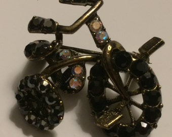 Vintage Rhinestone Tricycle Brooch ~ Black & AB Rhinestones ~ Scatter PIN
