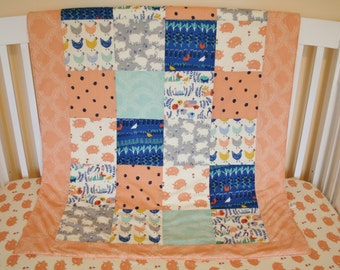 Organic Baby Quilt,  Organic Toddler Quilt, Modern Quilt, Farmstead, Farm Animals, Chickens, Pigs, Baby Girl, Pink