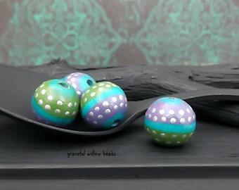 Hand Painted Purple Green Turquoise Polka Dot Round Wood Bead - Bohemian Wood Cord Bead - 10-12mm - Pkg. 4