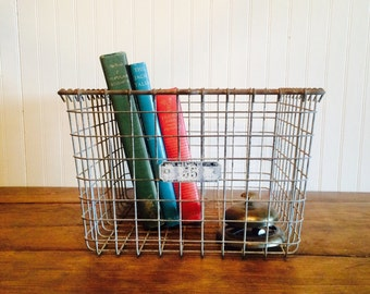 Vintage Industrial Metal Gym Locker Basket Metal Wire Basket Lyon Company Basket Number 55