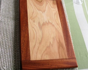 Cutting Board, Cheese Board Made from Solid Hickory and Mahogany