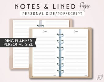 PERSONAL Size Notes and Lined Pages - Printable Ring Planner Insert - Script Theme