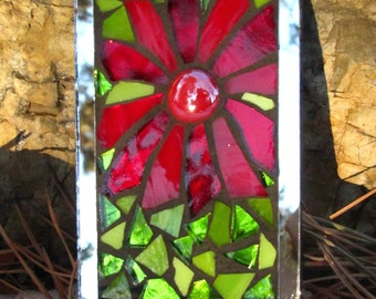 Small Stained Glass Garden Mosaic Tile on Mirror