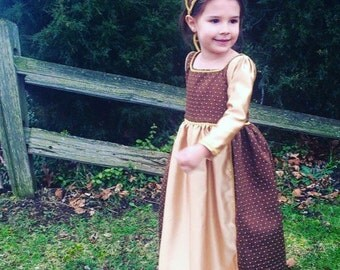 Renaissance Gown, princess gown, girls historical clothing, theatre costumes, renfaire garb, flower girl dress