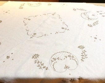 Vintage Embroidered Linen Tablecloth, Madeira Linen Tablecloth, Cream with Ecru Embroidery, Excellent Condition, 1950s