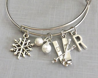 Skiing Bangle, Ski Bracelet, Ski Charm, Winter Bracelet, Snowflake Bracelet, Adjustable, Snowflake Charm, Personalized Initial, Gift for Her