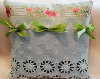 Lavender Sachet hand made with Antique Lace and Ribbons and embellished with vintage millinery trims