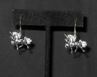 Sterling Silver Unicorn Pierced Earrings