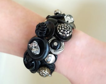 One of a Kind Antique Button Bracelet / Chunky Black Button Cuff Stretch Bracelet / Button Bracelet with 45 Rare Buttons / Mourning Jewelry