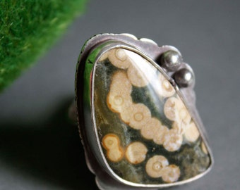 Designer jewelry, Fireflies in the forest, ocean jasper sterling silver ring, designer ring, size 8