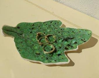Handmade Ring Dish Pottery UK Leaf Jewellery Storage Small Ceramic Decoration for the bedroom/bathroom Handmade UK