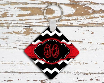 Cute monogrammed key chain, Chevron Car accessory, Red automotive accessories for her, Black white chevron (1001)