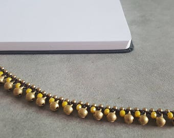 Jingling Brass Bell Yellow  Crystal Anklet