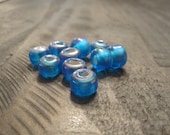 9mm Translucent Dark Turquoise Glass Crow Beads ~ package of 50 pieces