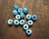 9mm Marbled Turquoise Glass Crow Beads ~ one package 65 pieces