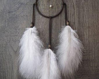 ON SALE Dream Catcher Chocolate Brown Deerskin with Marabou Feathers