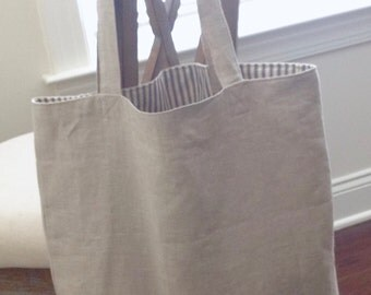 Linen Tote Bag -Market, Library, Beach Bag