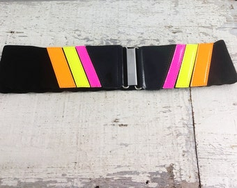 Vintage 1980's Neon Stretch Belt