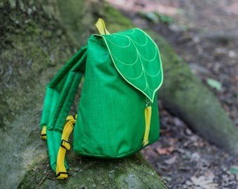 Green Leaf Bag, Hipster Backpack, Bohemian Backpack,  Women's Rucksack, Waterproof Festival Backpack, Grunge Backpack, School Backpack