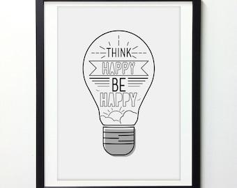 Think Happy Be Happy, Motivational Print, Modern Typography, Happy Art, Modern Wall Art, Line Art, Grey Wall Art, Typography Art Print