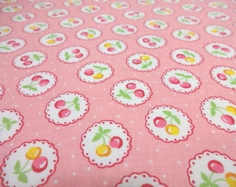 Japanese Fabric LECIEN Cherry Polka Dots Pink Fat Quarter