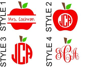 Personalized Apple Teacher DECAL ONLY - Name Monogram - Vinyl Decal - Quote Decal - Tumbler, Glass, Cup, Mug, YETI, Stainless Steel