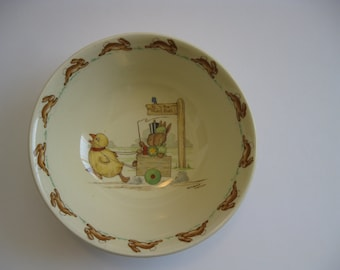 """Royal Doulton Bunnykins Children's Cereal Bowl """"to The Hunt Ball"""" Signed Barbara Vernon"""