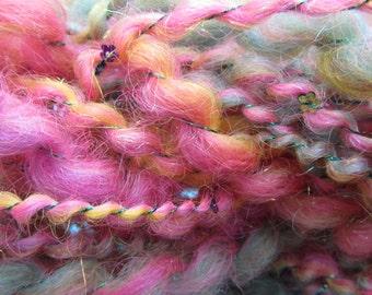 TINY DANCER YARN, priced per 10 yards, handspun, sequins, art yarn, thick and thin yarn, 2-ply, super bulky, angelina fiber, mimi skein
