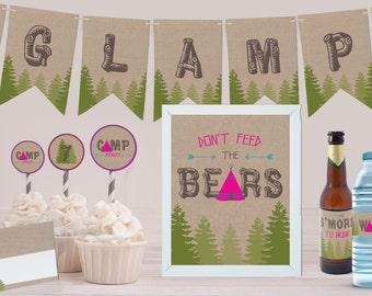 Glamping Printable Party Decor Kit
