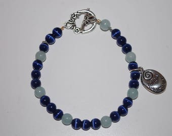 Dark Blue Cat's Eye and Aquamarine Beaded Bracelet with 'Follow Your Heart' Charm and Silver Toggle Clasp