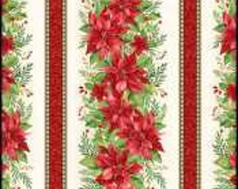 Maywood Studios Songbird Christmas wide poinsetta stripe fabric yardage