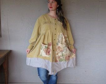 upcycled tunic dress oversize shirt Boho Patchwork clothing Funky plus size smock 1 X 2 X 3 X Artsy Eco prairie shirt by LillieNoraDryGoods