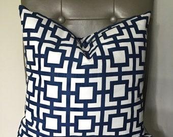 Pillow Cover 18x18, Throw Pillow, Decorative Pillow Cover, Sofa Pillow, Cushion, Pillow Case, Navy and White Pillow, Trellis, Ready to ship