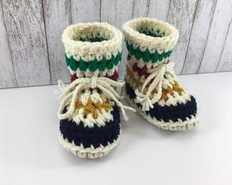Hudson Bay with Cream Base BABY Toddler Child Crochet SHEEPSKIN Booties and Slippers with Light Tan Leather Suede Sheepskin Shearling Sole