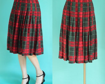 Vintage 80s Christmas Skirt - Red and Green Plaid Skirt - Holiday Skirt - Pleated Skirt - Midi Skirt - Wool Blend Silk Skirt - Size Medium