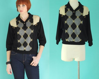 Vintage 80s Long Sleeve Polo Shirt - Metallic Gold Glitter Argyle Sweater - Pullover Sweatshirt - Embellished Black Top - Size Small / Med