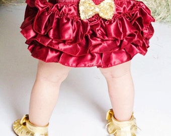 Baby Bloomer/All around bloomer /BloomerSkirt/ Solid color bloomer/Red Gold/PurpleGold/DiaperCover/Birthday Bloomer/CakeSmash