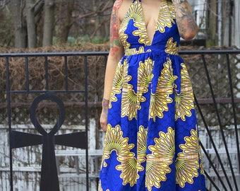 Blue African Ankara Wax Print Long Maxi Halter Dress