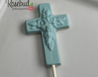 12 Chocolate Cross Lollipop Favors Baptism Communion Religious Party