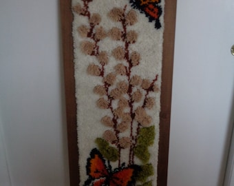 Vintage Butterflys Hooked  Rug Wall Hanging